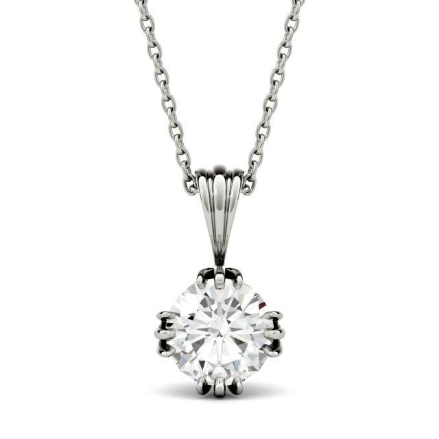 0.60 CTW Round Forever One Moissanite Solitaire Stud Necklace in 14K White Gold