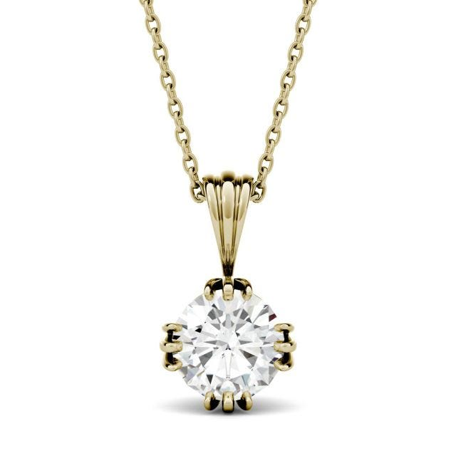 1.20 CTW Round Forever One Moissanite Solitaire Stud Necklace in 14K Yellow Gold