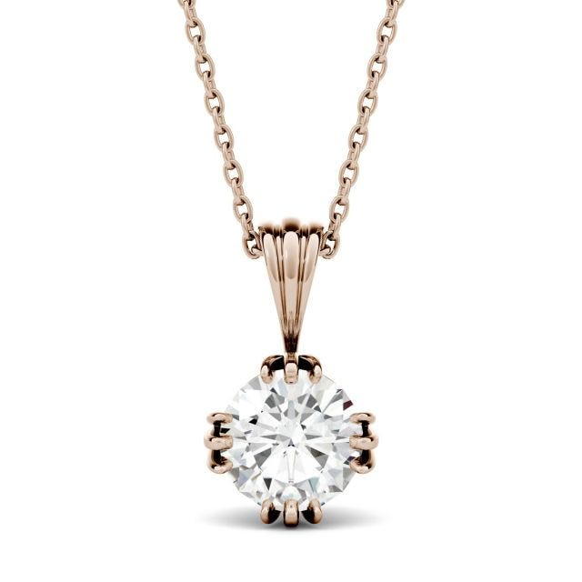 1.00 CTW Round Forever One Moissanite Tripe Prong Solitaire Pendant in 14K Rose Gold