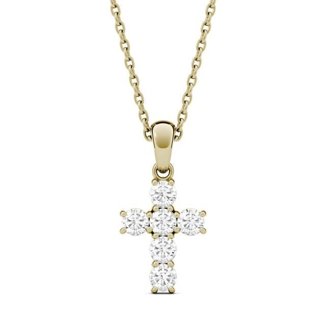 0.36 CTW Round Forever One Moissanite Cross Pendant in 14K Yellow Gold