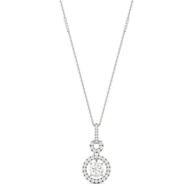 1.23 CTW Round Forever One Moissanite Drop Halo Necklace in 14K White Gold