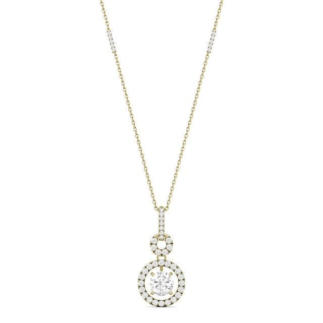 1.23 CTW Round Forever One Moissanite Drop Halo Necklace in 14K Yellow Gold