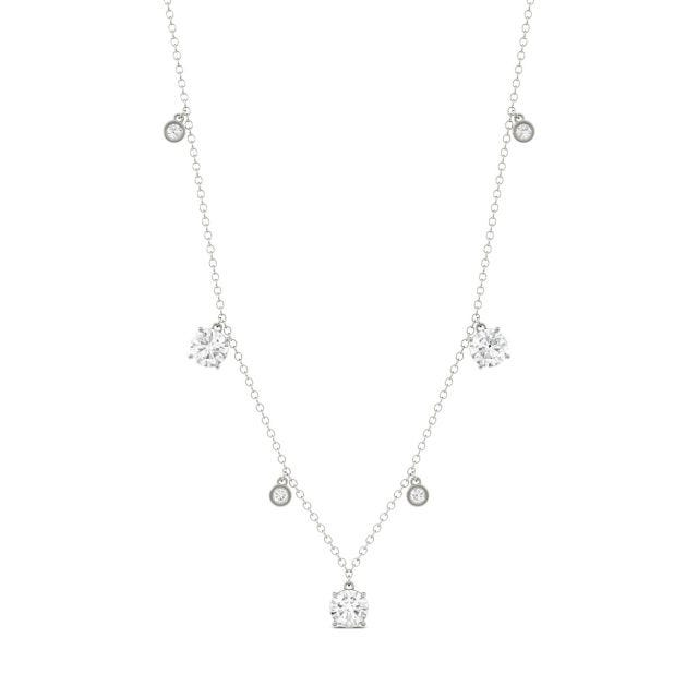 1.08 CTW Round Forever One Moissanite Necklace in 14K White Gold