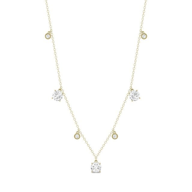 1.08 CTW Round Forever One Moissanite Fixed Station Necklace in 14K Yellow Gold