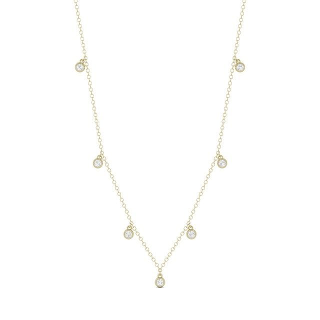 0.16 CTW Round Forever One Moissanite Necklace in 14K Yellow Gold