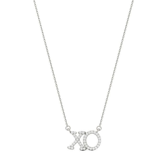 0.19 CTW Round Forever One Moissanite XO Hugs and Kisses Necklace in 14K White Gold