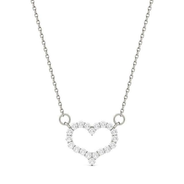 0.35 CTW Round Forever One Moissanite Heart Pendant in 14K White Gold