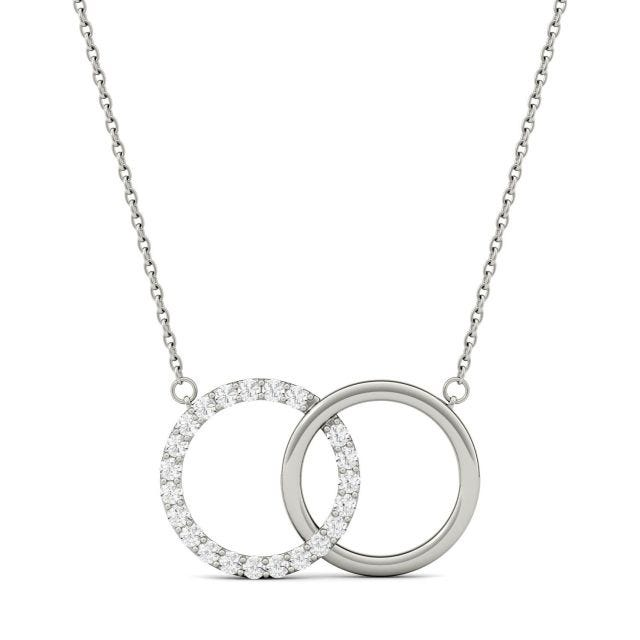 0.33 CTW Round Forever One Moissanite Linked Circle Pendant in 14K White Gold