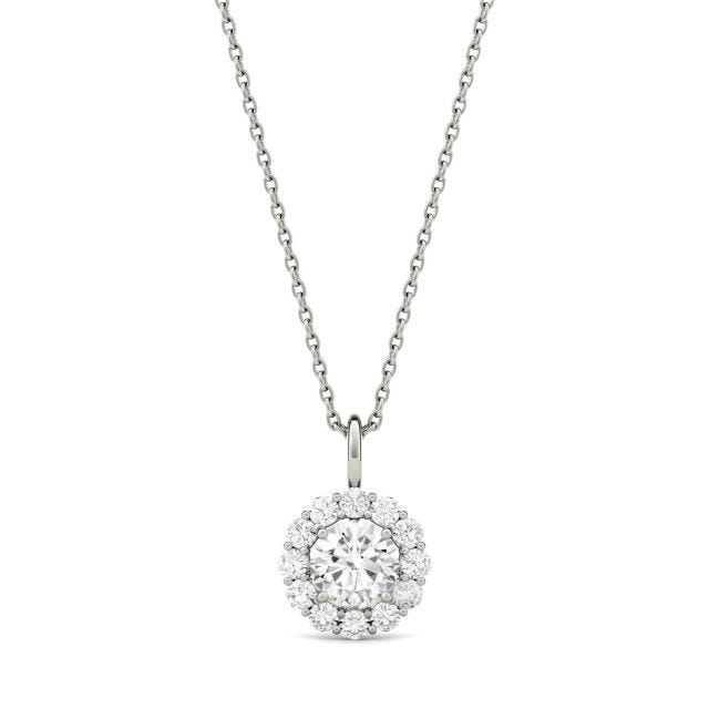 0.96 CTW Round Forever One Moissanite Halo Pendant in 14K White Gold