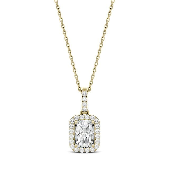 2.03 CTW Radiant Forever One Moissanite Halo Pendant in 14K Yellow Gold