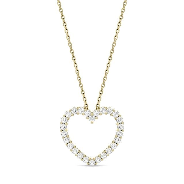 0.39 CTW Round Forever One Moissanite Heart Pendant in 14K Yellow Gold