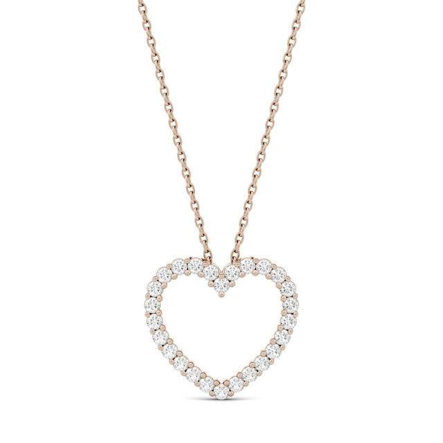 0.39 CTW Round Forever One Moissanite Heart Pendant in 14K Rose Gold
