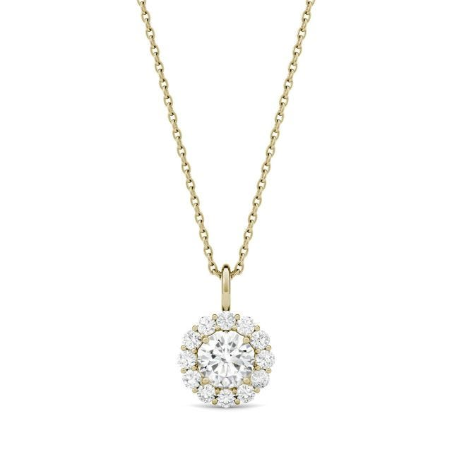 0.96 CTW Round Forever One Moissanite Halo Necklace in 14K Yellow Gold