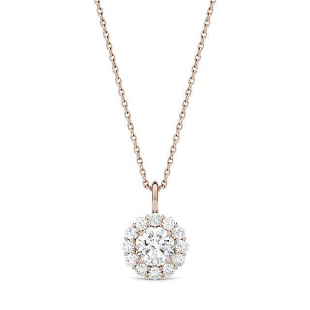 0.96 CTW Round Forever One Moissanite Halo Necklace in 14K Rose Gold