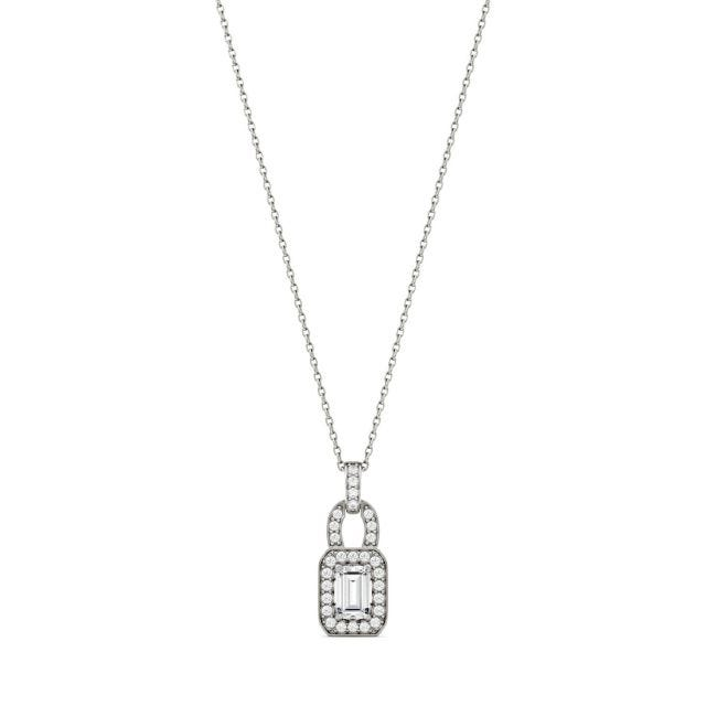 0.77 CTW Emerald Forever One Moissanite Halo Necklace in 14K White Gold