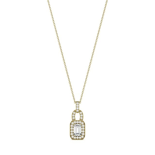 0.77 CTW Emerald Forever One Moissanite Halo Necklace in 14K Yellow Gold
