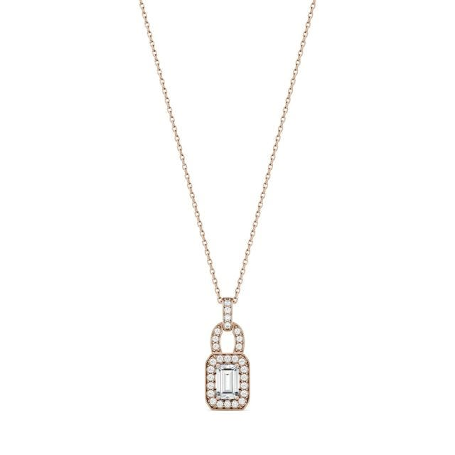 0.77 CTW Emerald Forever One Moissanite Halo Necklace in 14K Rose Gold