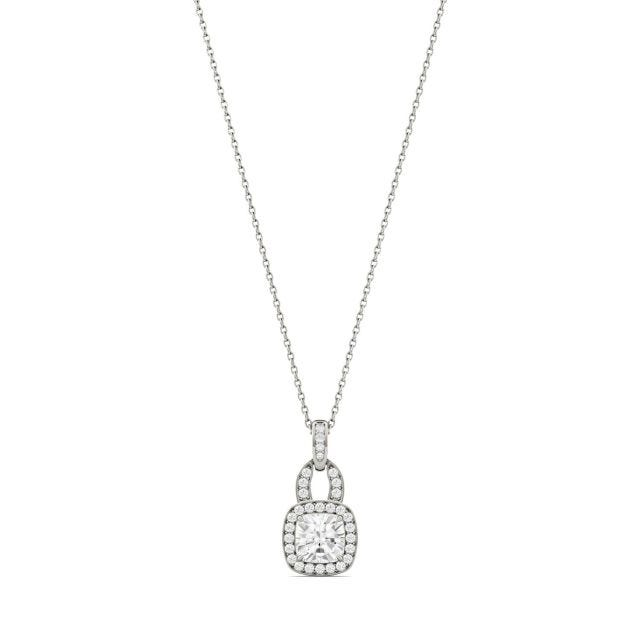 1.30 CTW Cushion Forever One Moissanite Halo Necklace in 14K White Gold