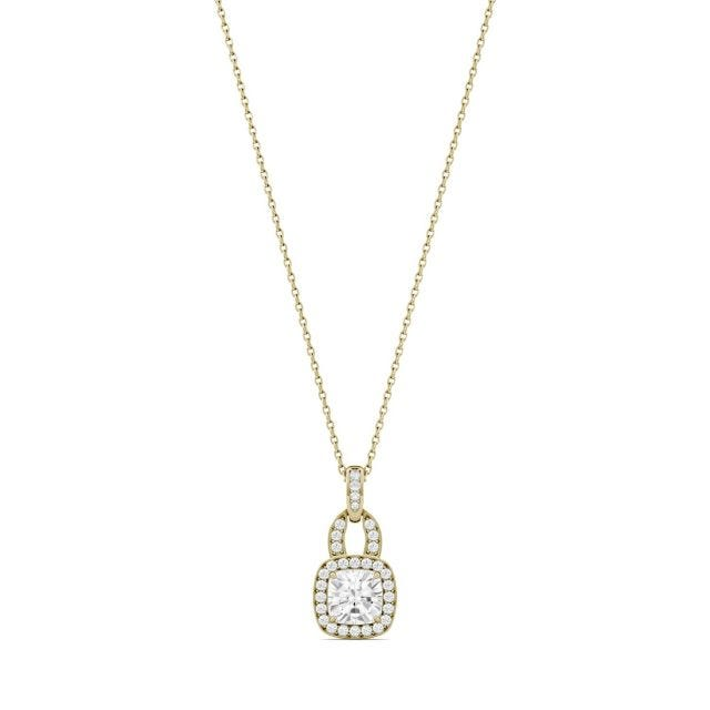 1.30 CTW Cushion Forever One Moissanite Halo Necklace in 14K Yellow Gold