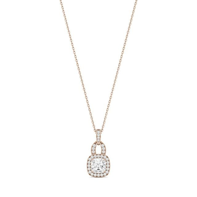 1.30 CTW Cushion Forever One Moissanite Halo Necklace in 14K Rose Gold