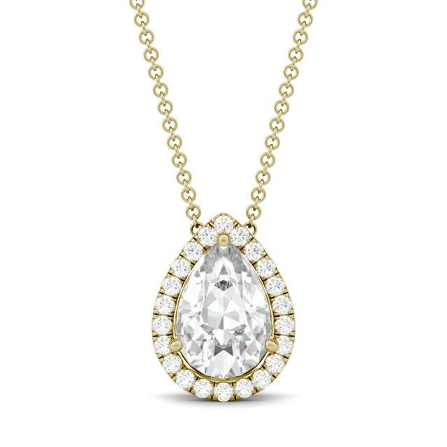 2.32 CTW DEW Pear Forever One Moissanite Halo Necklace in 14K Yellow Gold