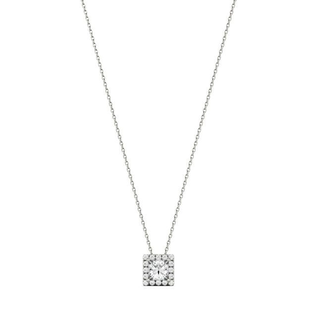 0.96 CTW Square Forever One Moissanite Square Shaped Halo Necklace in 14K White Gold
