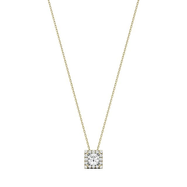 0.96 CTW Square Forever One Moissanite Square Shaped Halo Necklace in 14K Yellow Gold