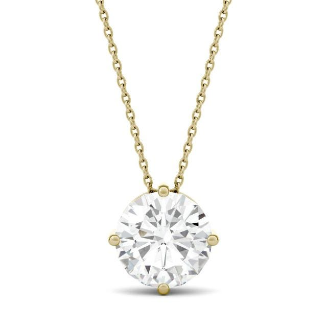 3.10 CTW Round Forever One Moissanite Solitaire Stud Necklace in 14K Yellow Gold