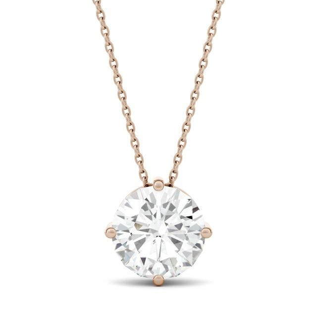 3.10 CTW Round Forever One Moissanite Solitaire Stud Necklace in 14K Rose Gold