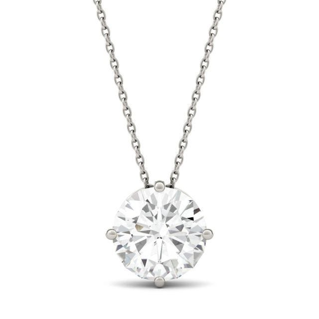 3.10 CTW Round Forever One Moissanite Solitaire Stud Necklace in 14K White Gold
