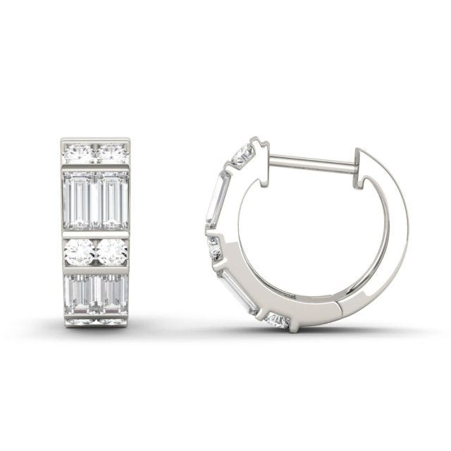 1.29 CTW DEW Straight Baguette Forever One Moissanite Double Row Hoop Earrings in 14K White Gold