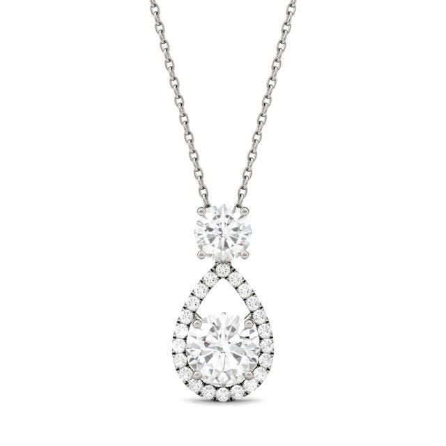 1.68 CTW Round Forever One Moissanite Teardrop Halo Necklace in 14K White Gold