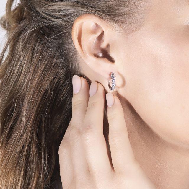 0.40 CTW Round Forever One Moissanite Beaded Hoop Earrings in 14K White Gold