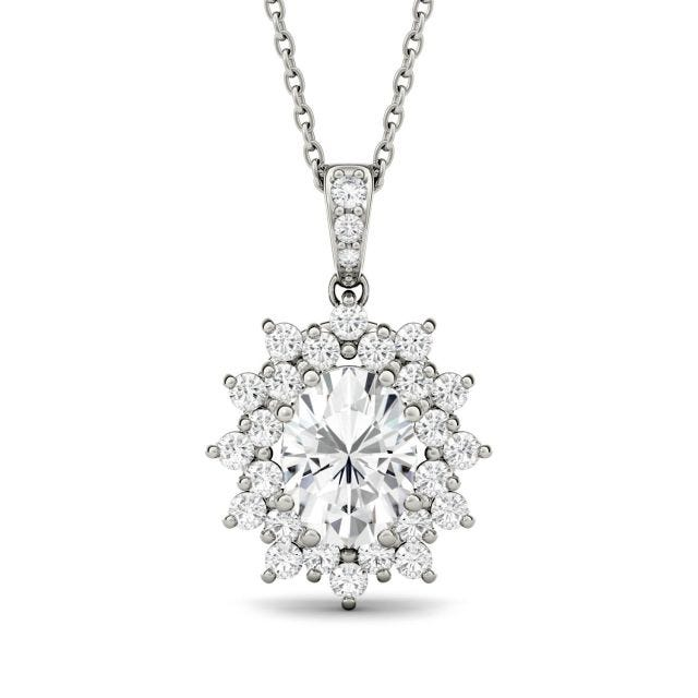 2.04 CTW Oval Forever One Moissanite Floral Cluster Pendant in 14K White Gold