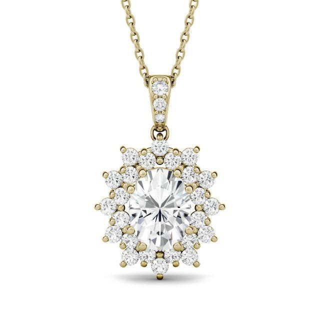 2.03 CTW Oval Forever One Moissanite Floral Cluster Pendant in 14K Yellow Gold