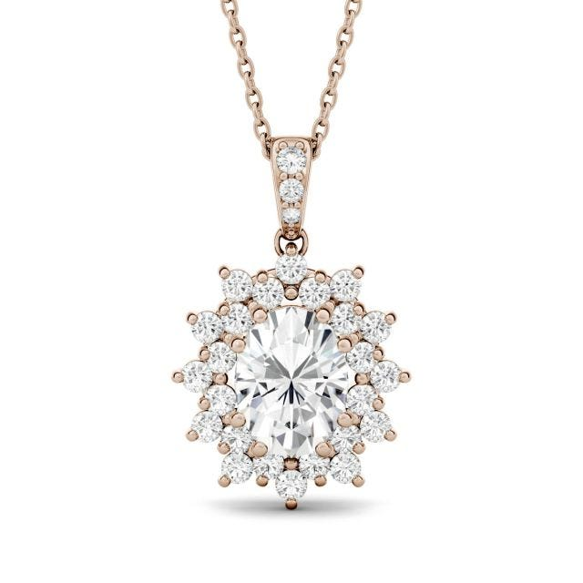 2.04 CTW Oval Forever One Moissanite Floral Cluster Pendant in 14K Rose Gold