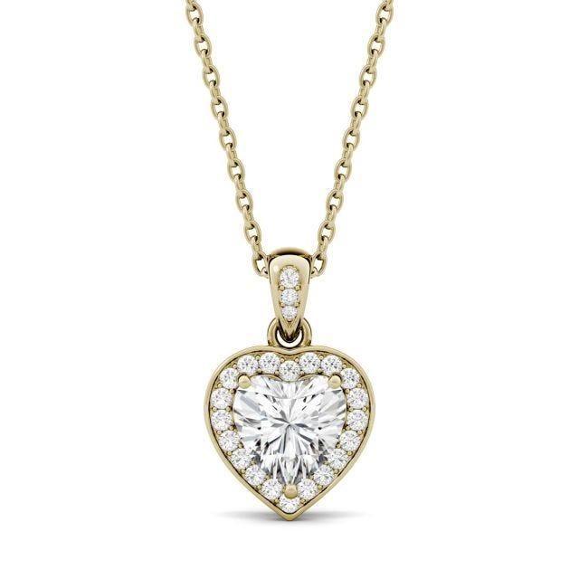 0.95 CTW Heart Forever One Moissanite Bezel Set Halo Pendant in 14K Yellow Gold