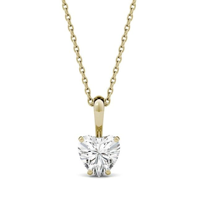 1.00 CTW Heart Forever One Moissanite Solitaire Pendant in 14K Yellow Gold