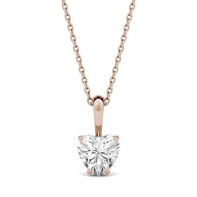 1.00 CTW Heart Forever One Moissanite Solitaire Pendant in 14K Rose Gold