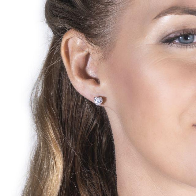 2.00 CTW Heart Forever One Moissanite Solitaire Stud Earrings in 14K White Gold