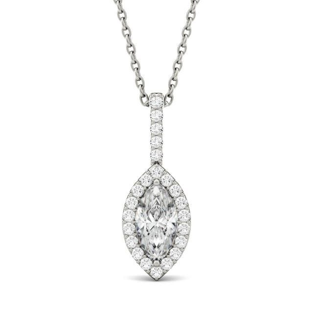 1.22 CTW Marquise Forever One Moissanite Halo Pendant in 14K White Gold