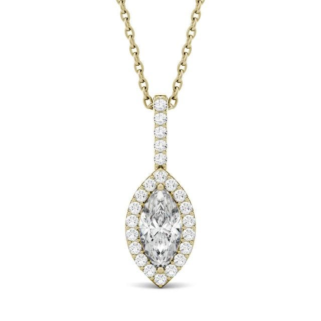1.22 CTW Marquise Forever One Moissanite Halo Pendant in 14K Yellow Gold