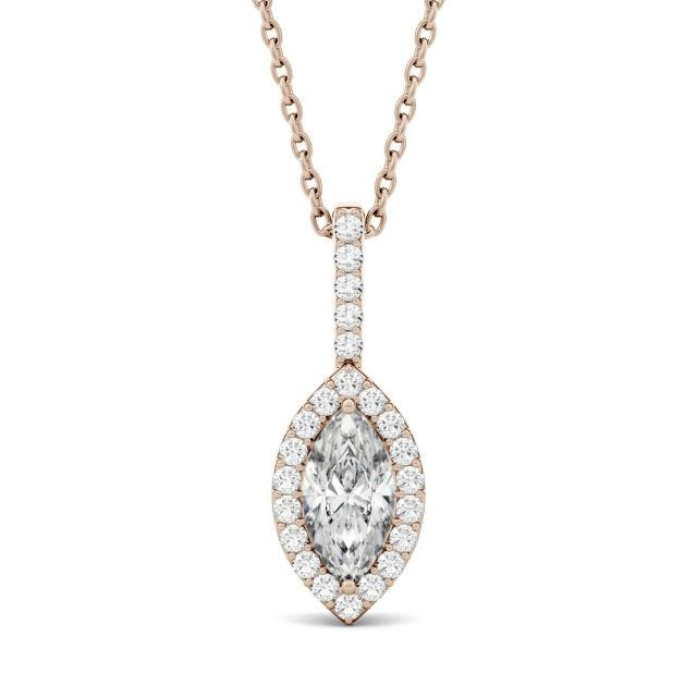 1.22 CTW Marquise Forever One Moissanite Halo Pendant in 14K Rose Gold