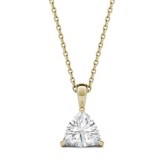1.00 CTW Trillion Forever One Moissanite Solitaire Pendant in 14K Yellow Gold