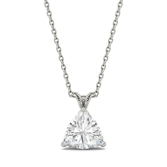 1.00 CTW Trillion Forever One Moissanite Floral Setting Solitaire Pendant in 14K White Gold