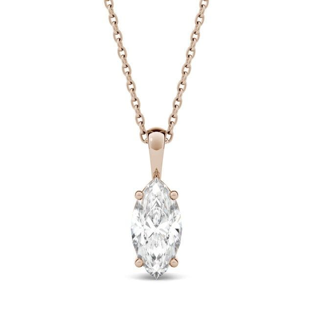 0.50 CTW Marquise Forever One Moissanite Solitaire Pendant in 14K Rose Gold