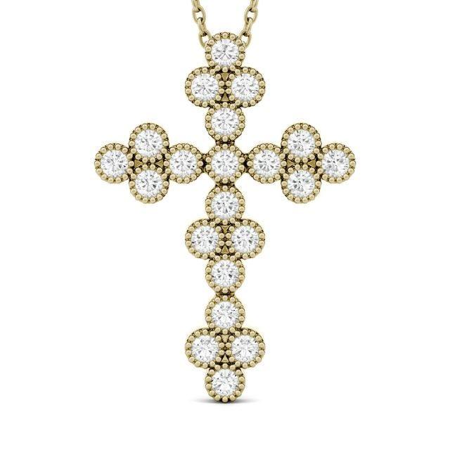0.47 CTW Round Forever One Moissanite Milgrain Cross Pendant in 14K Yellow Gold