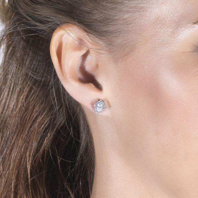 1.40 CTW Oval Forever One Moissanite Halo Stud Earrings in 14K White Gold
