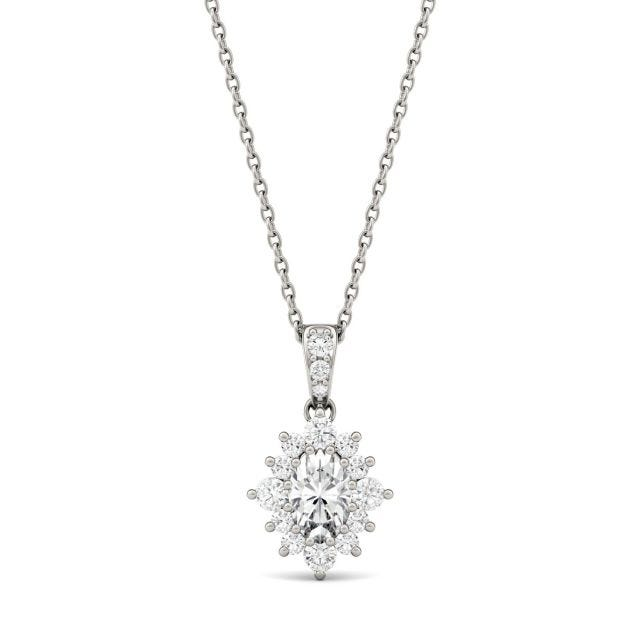0.71 CTW Oval Forever One Moissanite Halo Necklace in 14K White Gold