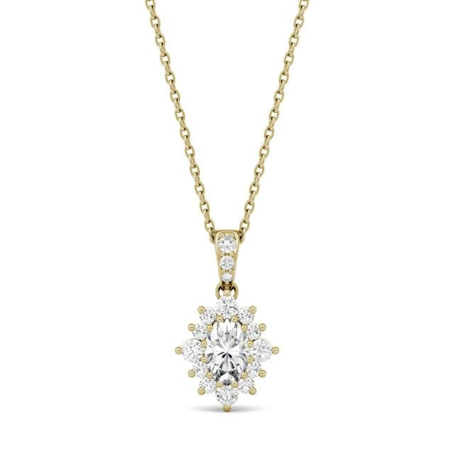 0.71 CTW Oval Forever One Moissanite Halo Necklace in 14K Yellow Gold